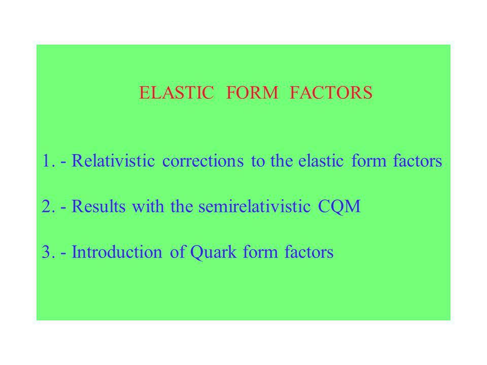 ELASTIC FORM FACTORS 1. - Relativistic corrections to the elastic form factors 2.