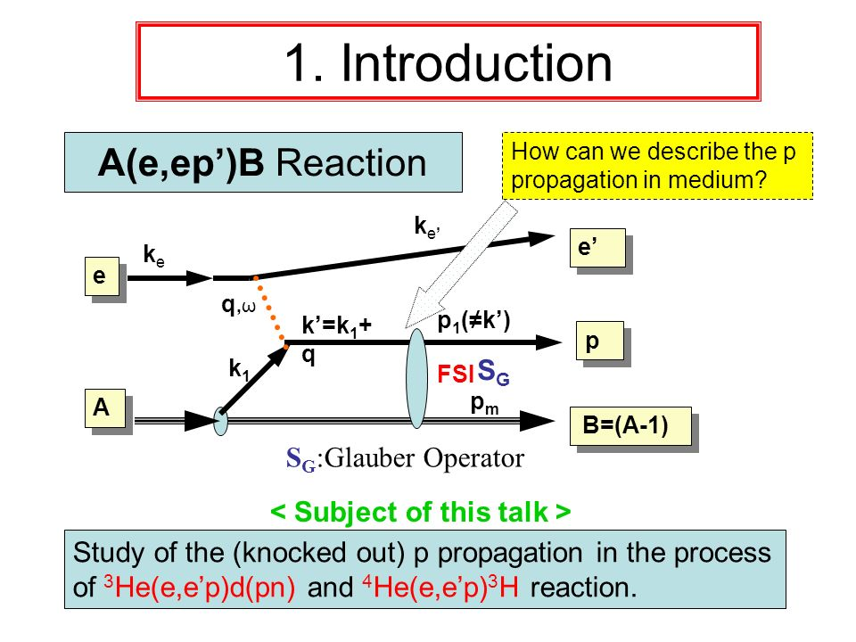 A(e,ep)B Reaction k e q,ωq,ω e e k=k 1 + q p p B=(A-1) keke e e p 1 (k) k1k1 A A SGSG S G :Glauber Operator pmpm 1. Introduction Study of the (knocked