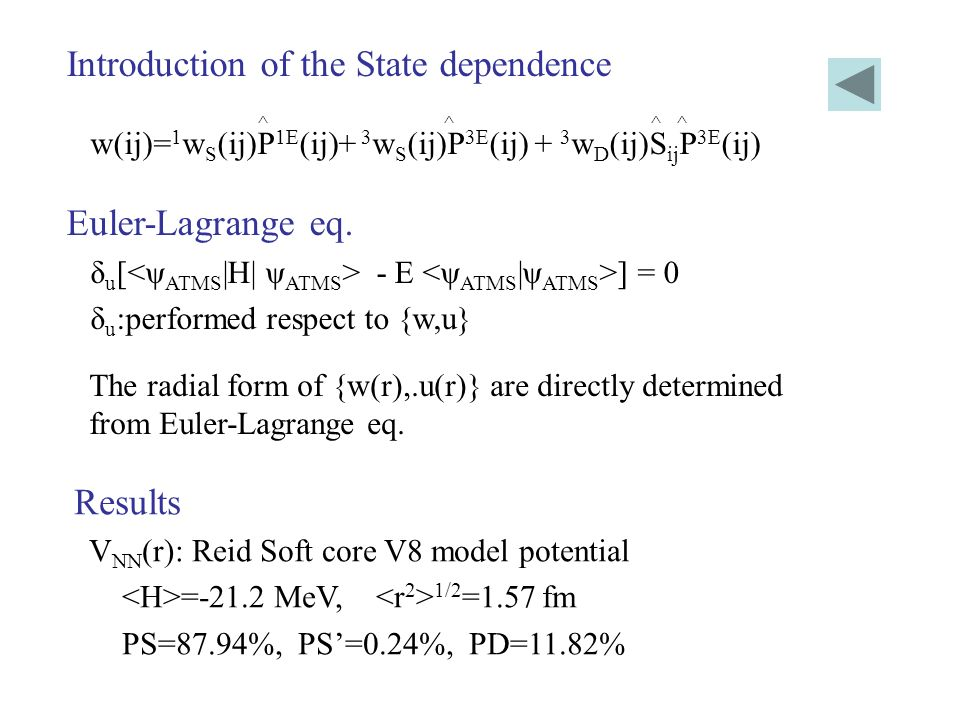 Introduction of the State dependence ^ ^ ^ ^ w(ij)= 1 w S (ij)P 1E (ij)+ 3 w S (ij)P 3E (ij) + 3 w D (ij)S ij P 3E (ij) Euler-Lagrange eq. δ u [ - E ]
