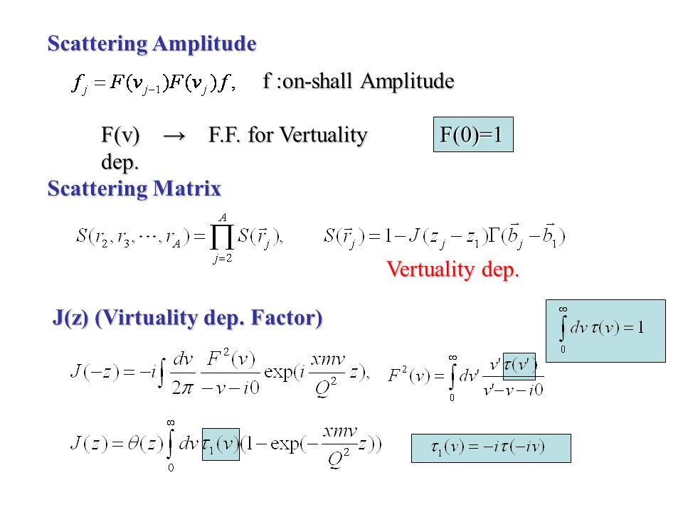 Scattering Amplitude f :on-shall Amplitude F(v) F.F.