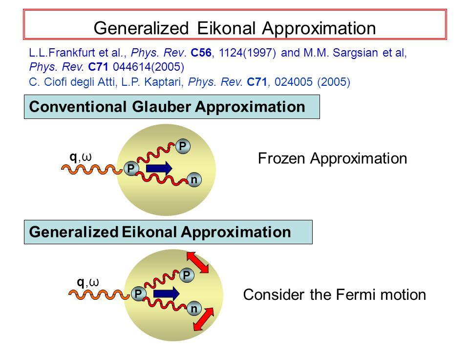 Generalized Eikonal Approximation Frozen Approximation L.L.Frankfurt et al., Phys. Rev. C56, 1124(1997) and M.M. Sargsian et al, Phys. Rev. C71 044614