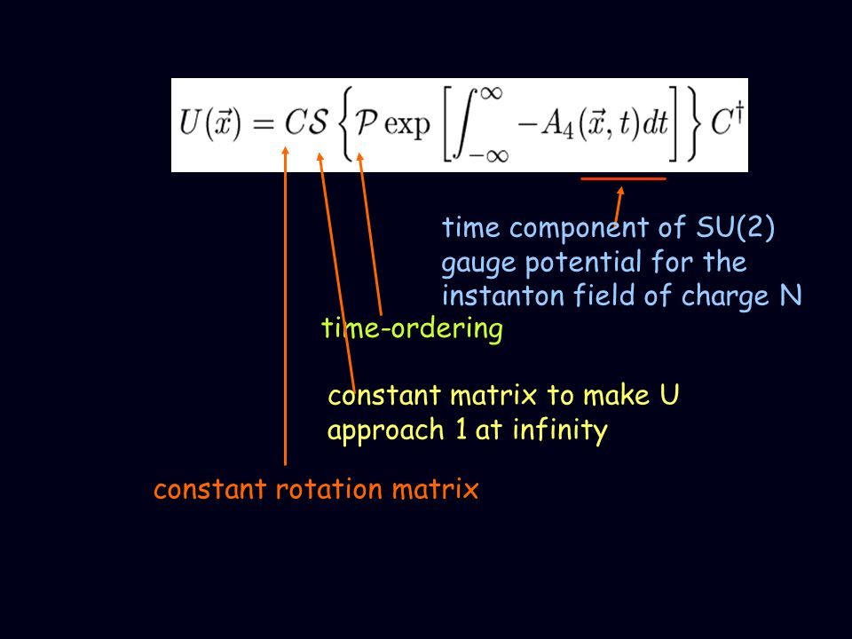 time component of SU(2) gauge potential for the instanton field of charge N time-ordering constant matrix to make U approach 1 at infinity constant ro