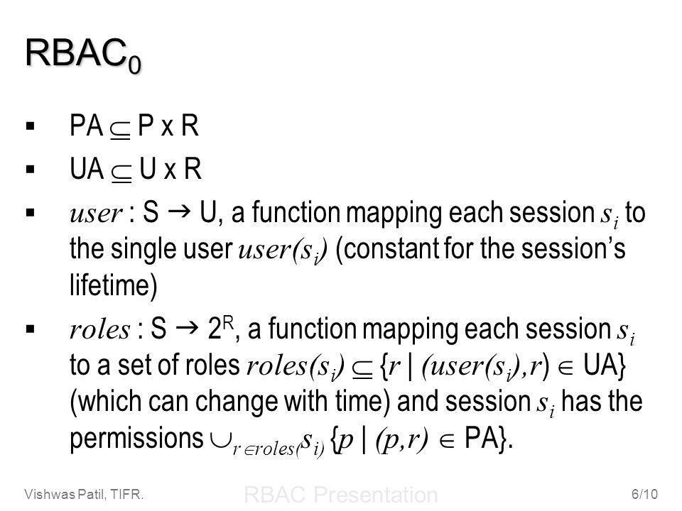 RBAC Presentation Vishwas Patil, TIFR.6/10 RBAC 0 PA P x R UA U x R user : S U, a function mapping each session s i to the single user user(s i ) (con