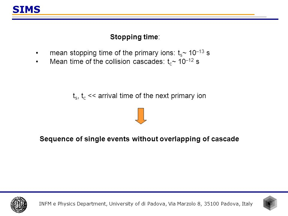 INFM e Physics Department, University of di Padova, Via Marzolo 8, 35100 Padova, Italy SIMS Stopping time: mean stopping time of the primary ions: t s