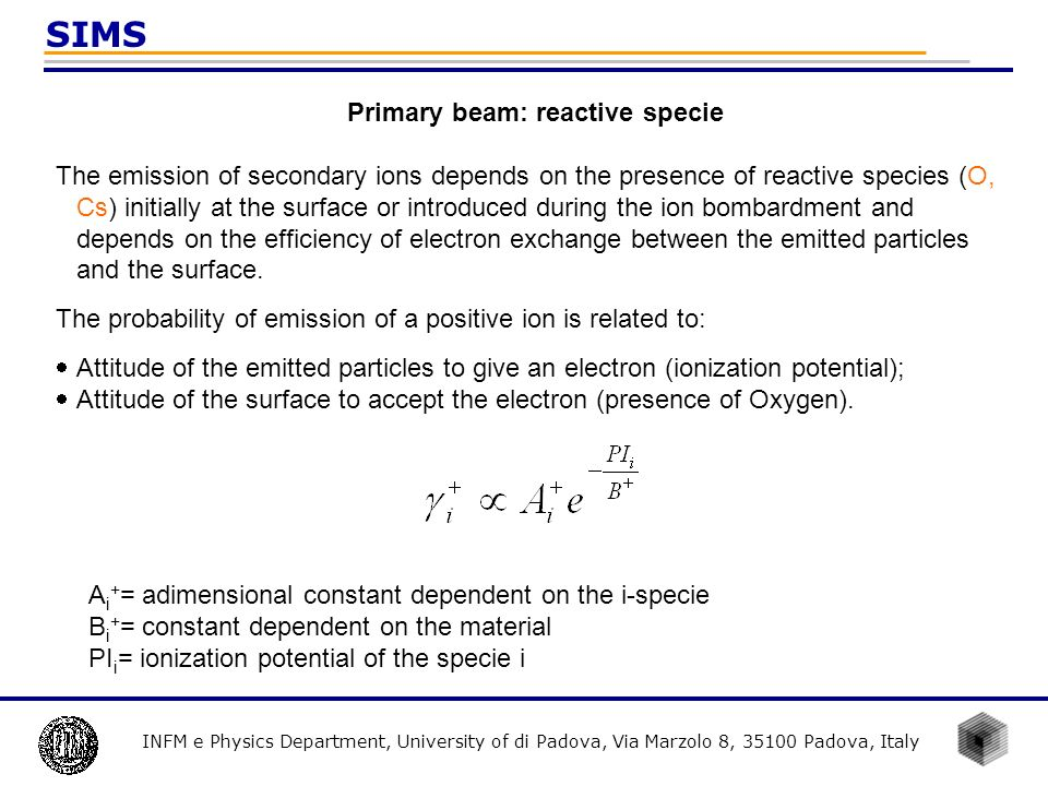 INFM e Physics Department, University of di Padova, Via Marzolo 8, 35100 Padova, Italy SIMS The probability of emission of a negative ion is related to 1.Attitude of the emitted particles to accept an electron (electron affinity); 2.Attitude of the surface to give the electron (presence Cs).