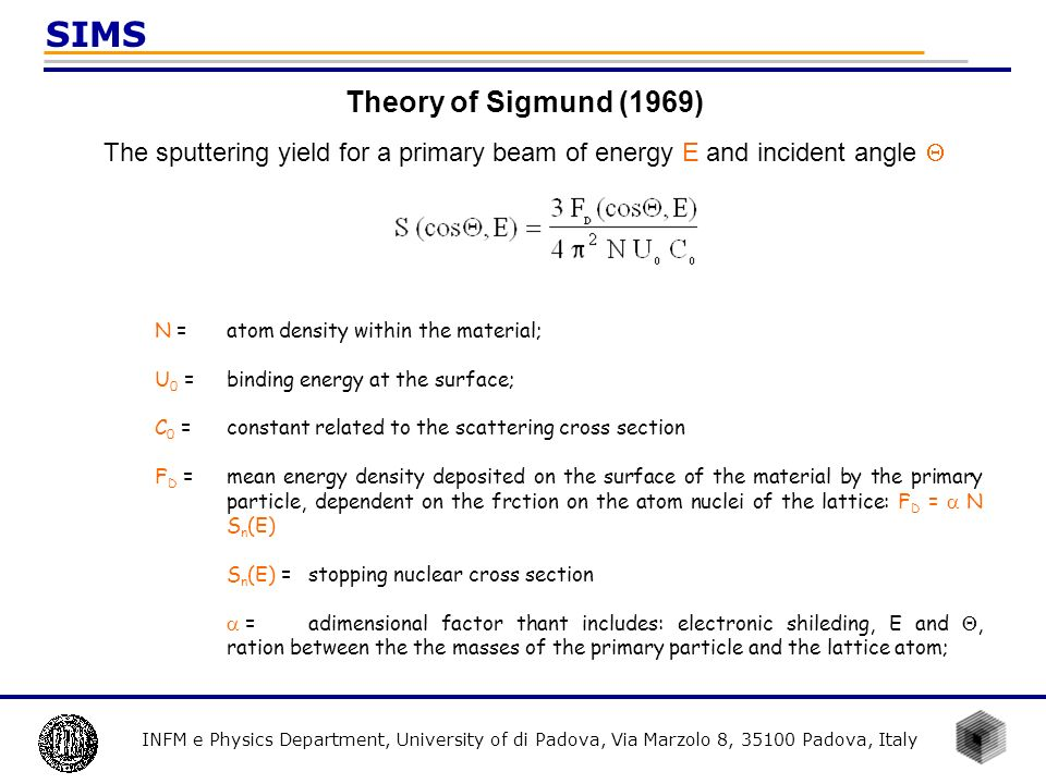 INFM e Physics Department, University of di Padova, Via Marzolo 8, 35100 Padova, Italy SIMS Theory of Sigmund (1969) The sputtering yield for a primar
