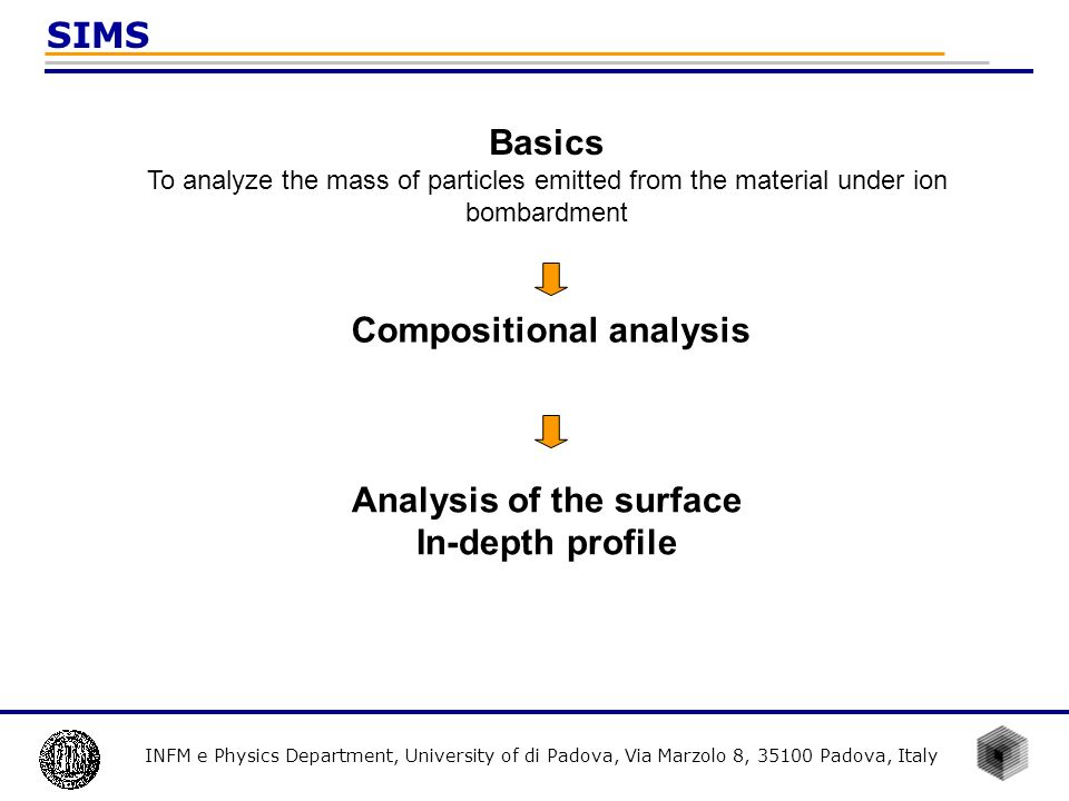 INFM e Physics Department, University of di Padova, Via Marzolo 8, 35100 Padova, Italy SIMS Compositional analysis Analysis of the surface In-depth pr