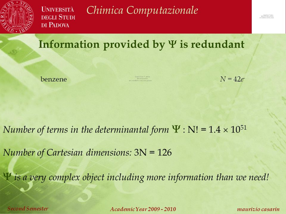 Chimica Computazionale Academic Year 2009 - 2010 maurizio casarin Second Semester Information provided by is redundant benzene Number of terms in the determinantal form : N.