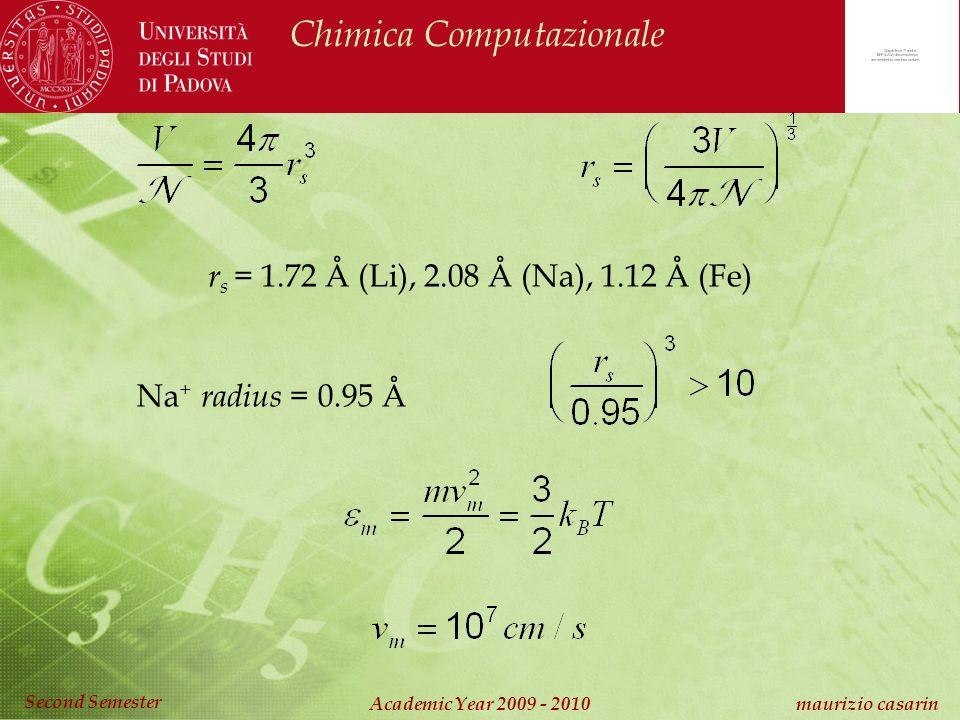 Chimica Computazionale Academic Year 2009 - 2010 maurizio casarin Second Semester r s = 1.72 Å (Li), 2.08 Å (Na), 1.12 Å (Fe) Na + radius = 0.95 Å