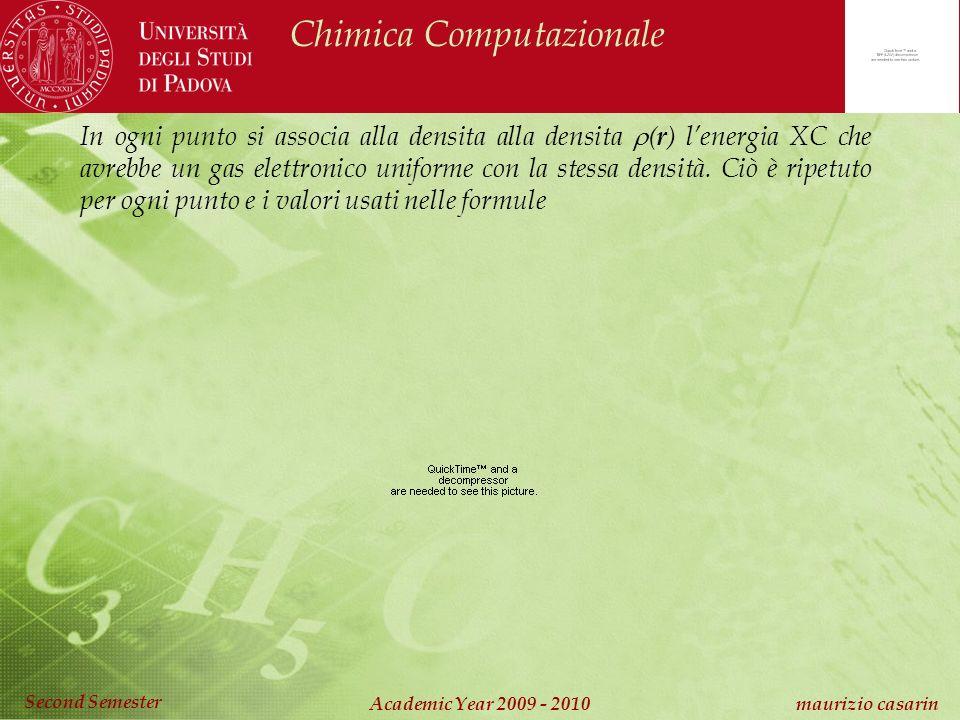 Chimica Computazionale Academic Year 2009 - 2010 maurizio casarin Second Semester In ogni punto si associa alla densita alla densita ( r ) lenergia XC che avrebbe un gas elettronico uniforme con la stessa densità.