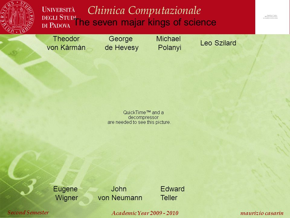 Chimica Computazionale Academic Year 2009 - 2010 maurizio casarin Second Semester Theodor von Kàrmàn George de Hevesy Michael Polanyi Leo Szilard Eugene Wigner John von Neumann Edward Teller The seven majar kings of science