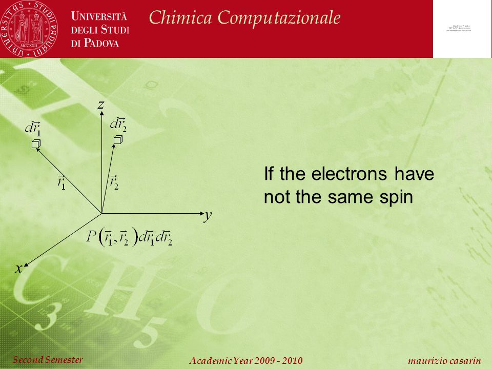 Chimica Computazionale Academic Year maurizio casarin Second Semester x y z If the electrons have not the same spin