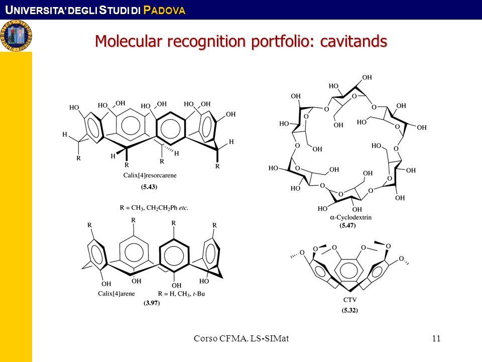 U NIVERSITA DEGLI S TUDI DI P ADOVA Corso CFMA. LS-SIMat11 Molecular recognition portfolio: cavitands