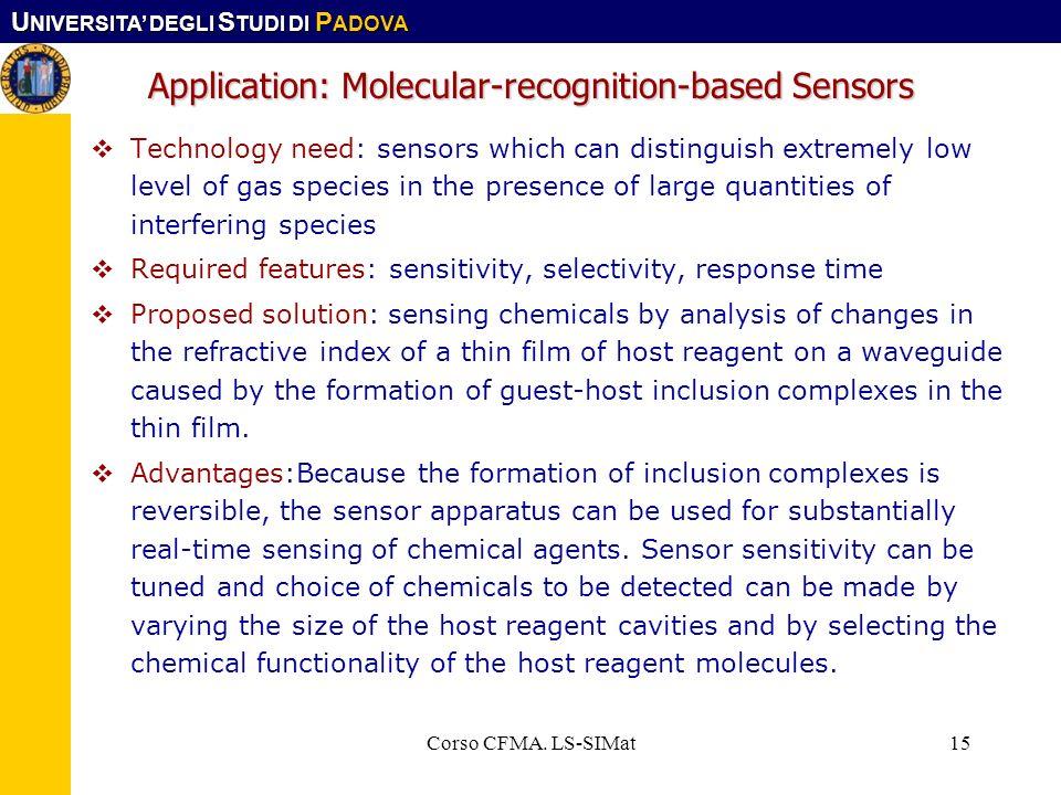 U NIVERSITA DEGLI S TUDI DI P ADOVA Corso CFMA. LS-SIMat15 Technology need: sensors which can distinguish extremely low level of gas species in the pr