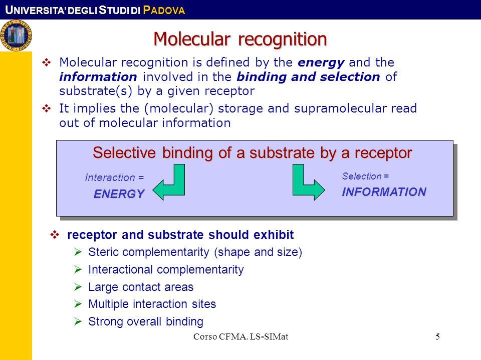 U NIVERSITA DEGLI S TUDI DI P ADOVA Corso CFMA. LS-SIMat5 Molecular recognition Molecular recognition is defined by the energy and the information inv