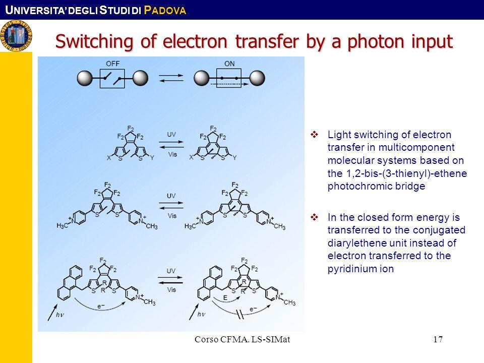 U NIVERSITA DEGLI S TUDI DI P ADOVA Corso CFMA. LS-SIMat17 Switching of electron transfer by a photon input Light switching of electron transfer in mu