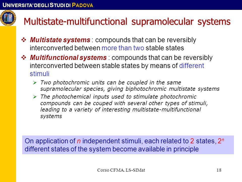 U NIVERSITA DEGLI S TUDI DI P ADOVA Corso CFMA. LS-SIMat18 Multistate-multifunctional supramolecular systems Multistate systems : compounds that can b