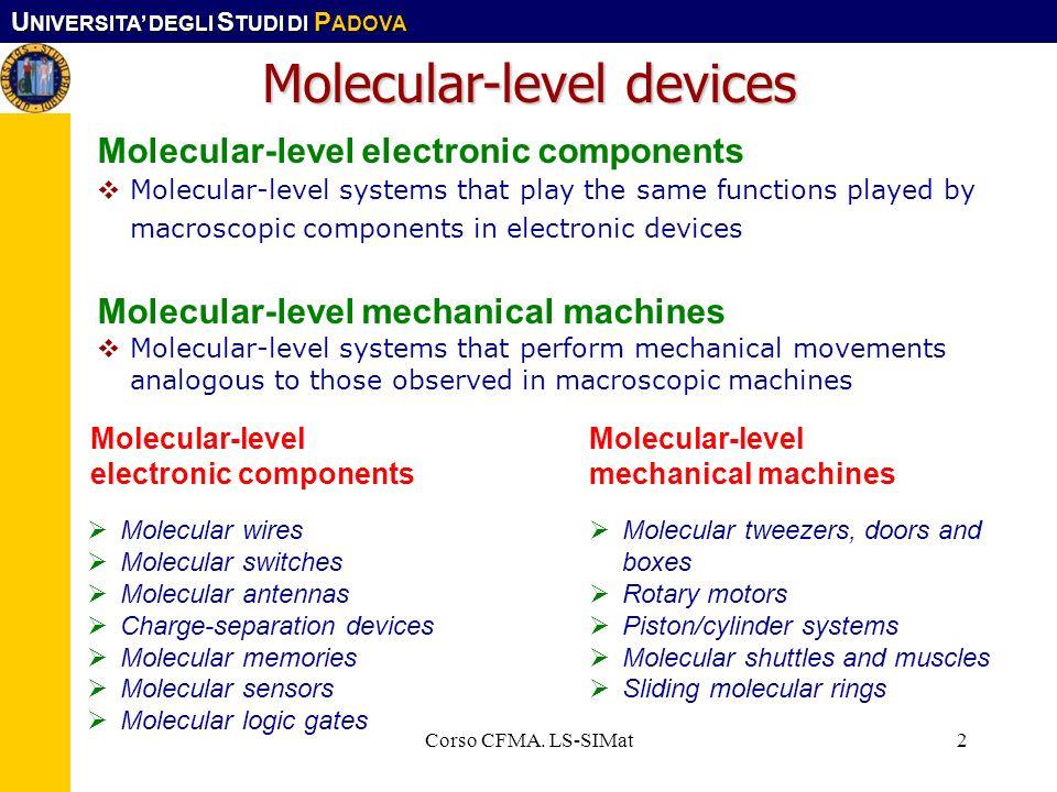 U NIVERSITA DEGLI S TUDI DI P ADOVA Corso CFMA. LS-SIMat2 Molecular-level devices Molecular-level electronic components Molecular-level systems that p