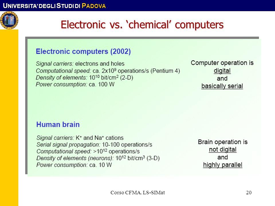 U NIVERSITA DEGLI S TUDI DI P ADOVA Corso CFMA. LS-SIMat20 Electronic vs. chemical computers