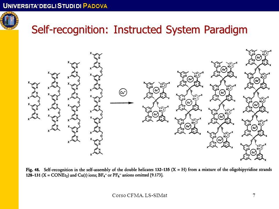 U NIVERSITA DEGLI S TUDI DI P ADOVA Corso CFMA. LS-SIMat7 Self-recognition: Instructed System Paradigm