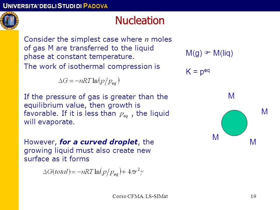 U NIVERSITA DEGLI S TUDI DI P ADOVA Corso CFMA. LS-SIMat19 Nucleation Consider the simplest case where n moles of gas M are transferred to the liquid
