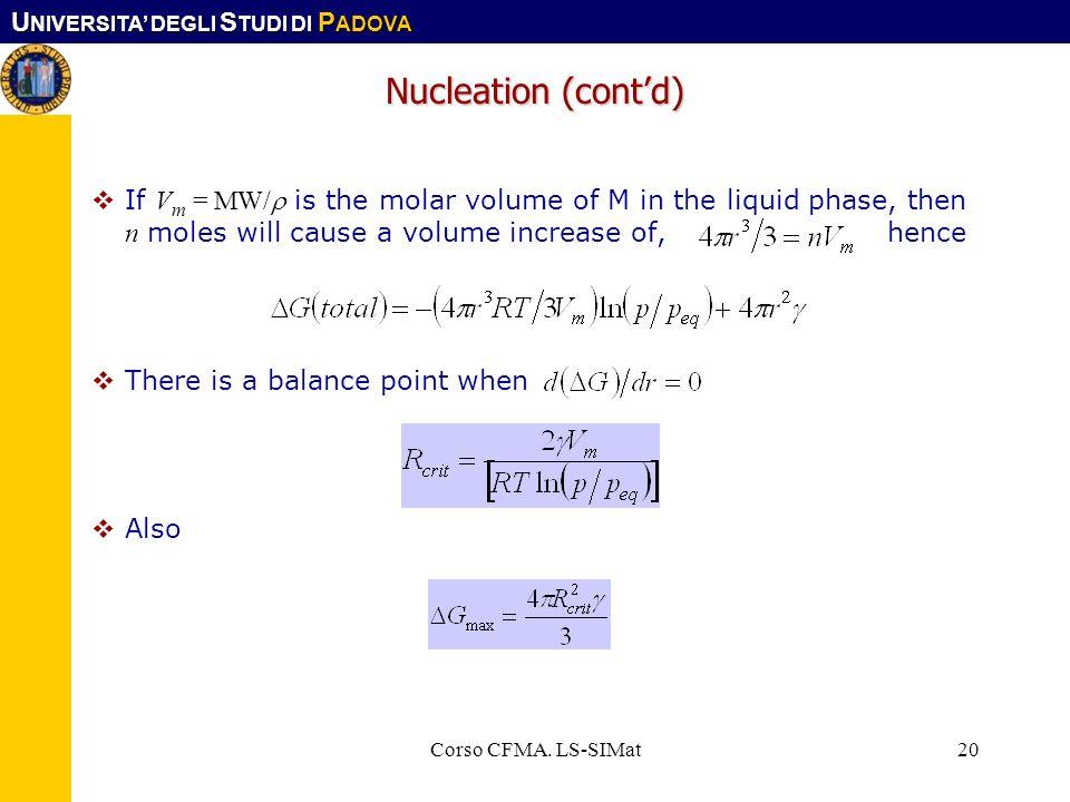 U NIVERSITA DEGLI S TUDI DI P ADOVA Corso CFMA. LS-SIMat20 Nucleation (contd) If V m = MW/ is the molar volume of M in the liquid phase, then n moles