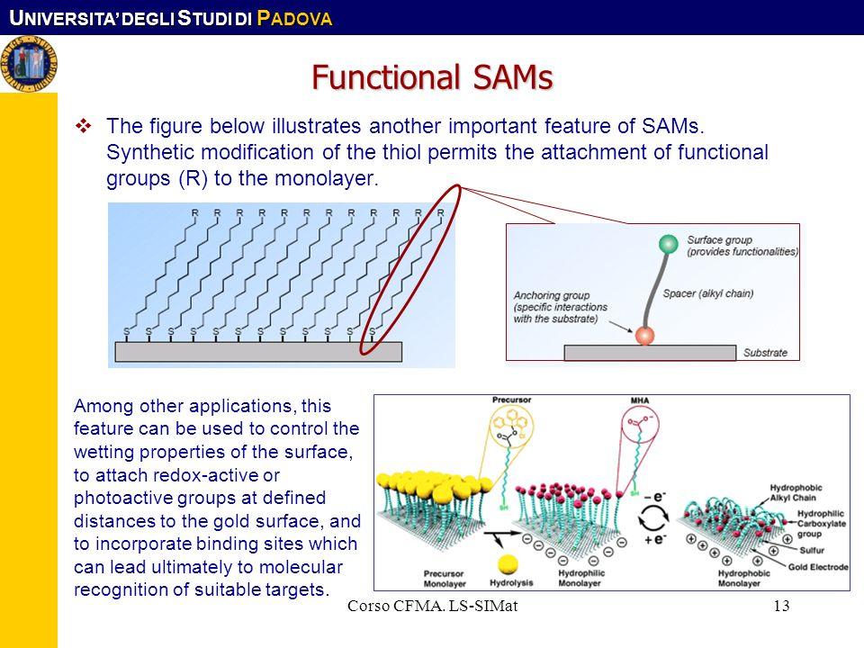 U NIVERSITA DEGLI S TUDI DI P ADOVA Corso CFMA. LS-SIMat13 Functional SAMs The figure below illustrates another important feature of SAMs. Synthetic m