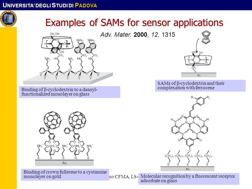 U NIVERSITA DEGLI S TUDI DI P ADOVA Corso CFMA. LS-SIMat14 Examples of SAMs for sensor applications Adv. Mater. 2000, 12, 1315 Binding of -cyclodextri