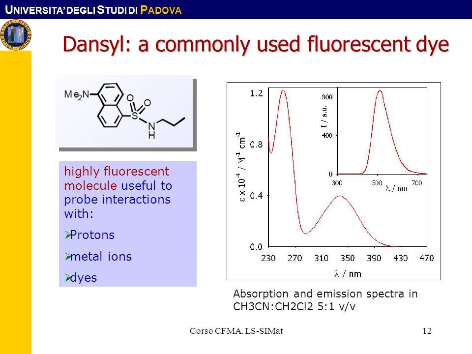 U NIVERSITA DEGLI S TUDI DI P ADOVA Corso CFMA. LS-SIMat12 Dansyl: a commonly used fluorescent dye highly fluorescent molecule useful to probe interac