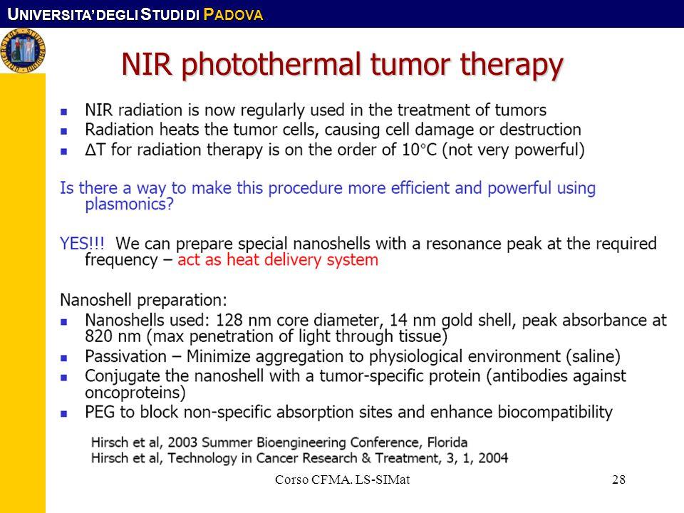 U NIVERSITA DEGLI S TUDI DI P ADOVA Corso CFMA. LS-SIMat28 NIR photothermal tumor therapy