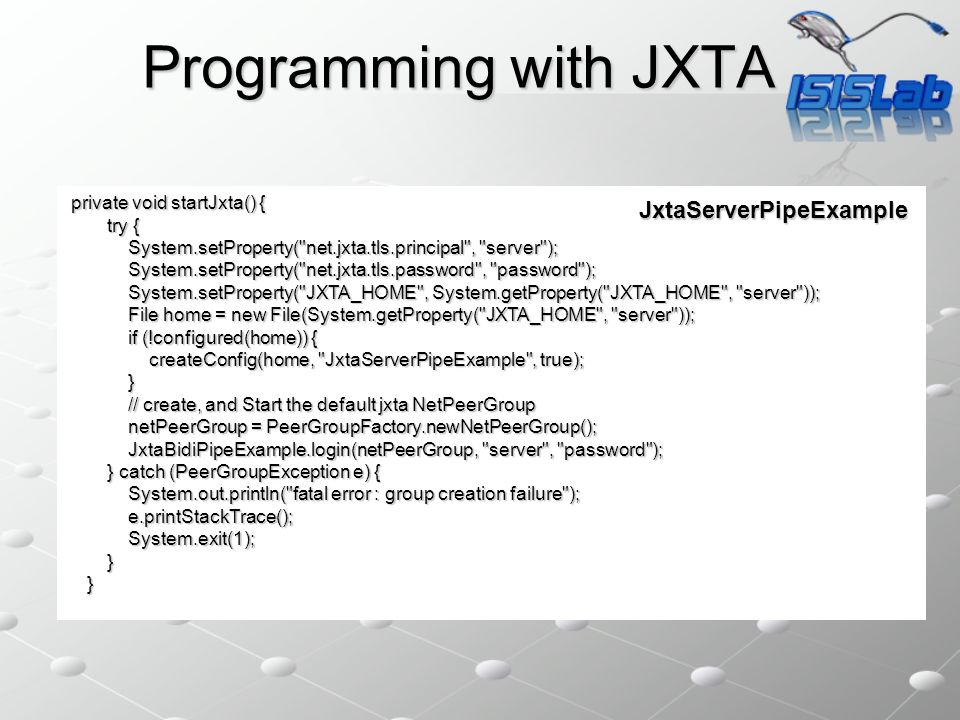 Programming with JXTA private void startJxta() { try { try { System.setProperty(