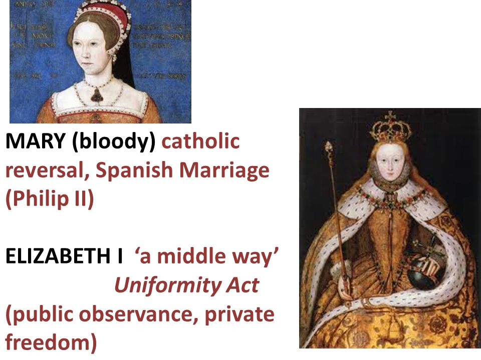 MARY (bloody) catholic reversal, Spanish Marriage (Philip II) ELIZABETH I a middle way Uniformity Act (public observance, private freedom)