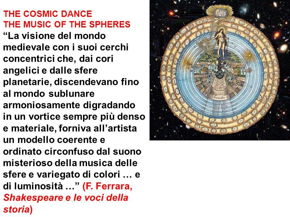 THE COSMIC DANCE THE MUSIC OF THE SPHERES La visione del mondo medievale con i suoi cerchi concentrici che, dai cori angelici e dalle sfere planetarie