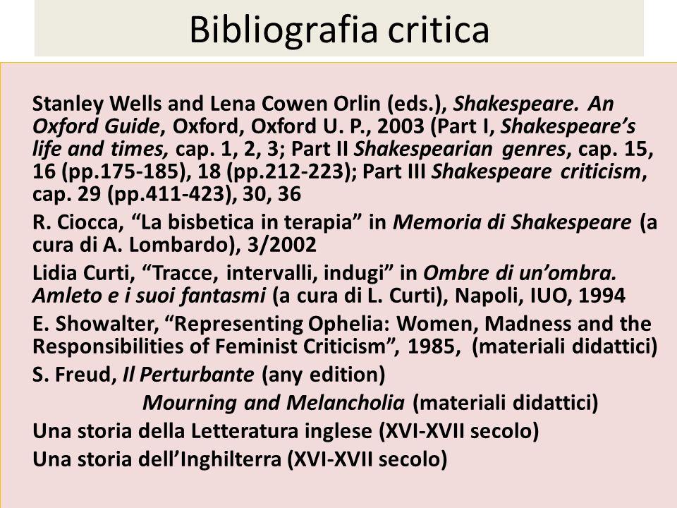 Bibliografia integrativa(12 cfu) W.
