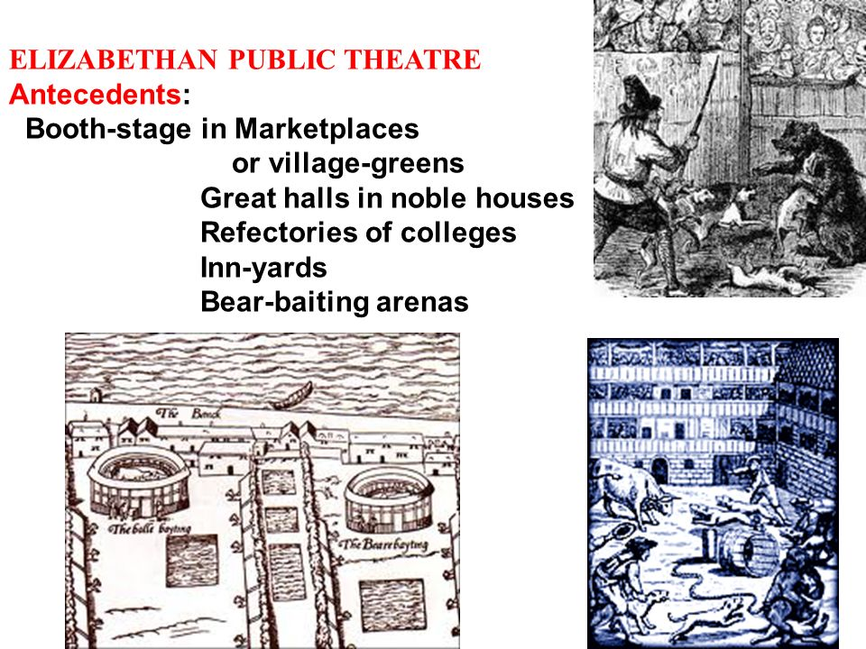 ELIZABETHAN PUBLIC THEATRE Antecedents: Booth-stage in Marketplaces or village-greens Great halls in noble houses Refectories of colleges Inn-yards Be