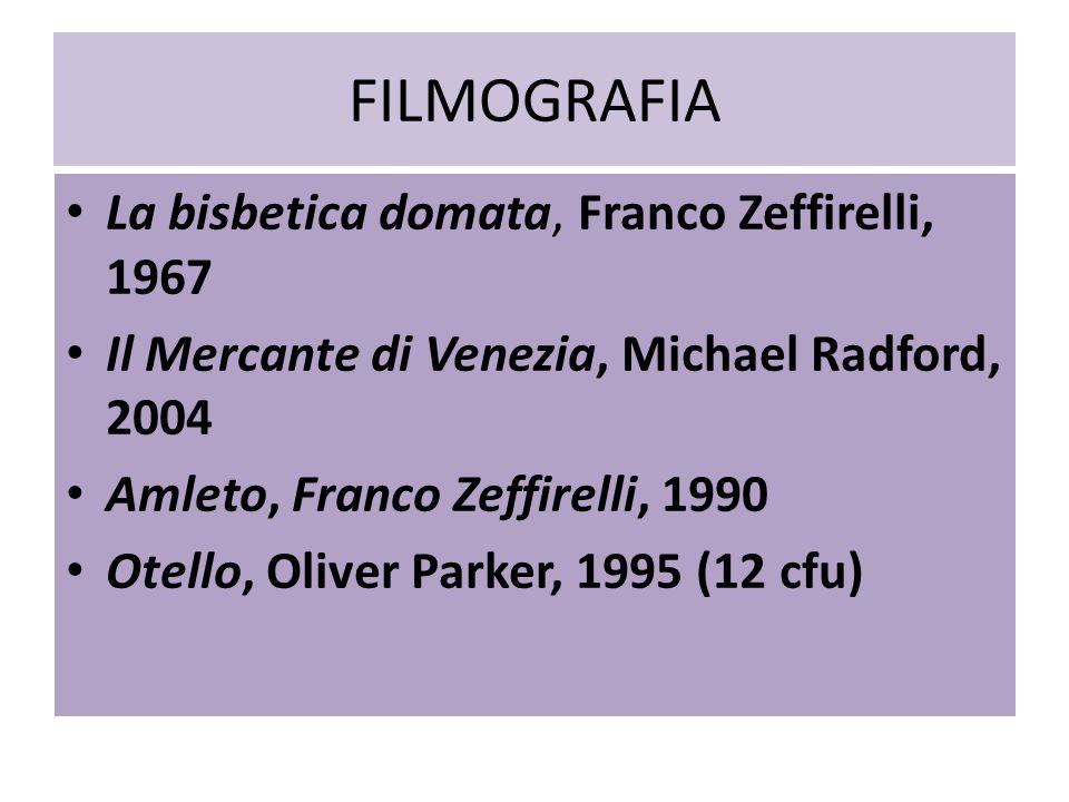FILMOGRAFIA La bisbetica domata, Franco Zeffirelli, 1967 Il Mercante di Venezia, Michael Radford, 2004 Amleto, Franco Zeffirelli, 1990 Otello, Oliver