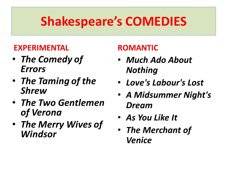 Shakespeares COMEDIES EXPERIMENTAL The Comedy of Errors The Taming of the Shrew The Two Gentlemen of Verona The Merry Wives of Windsor ROMANTIC Much A