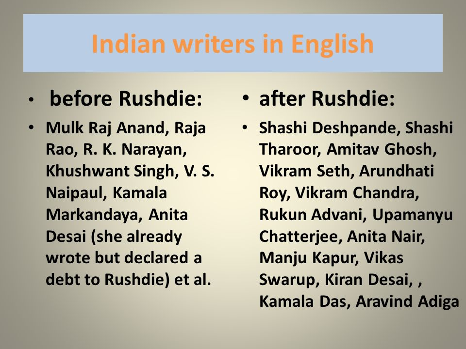Indian writers in English before Rushdie: Mulk Raj Anand, Raja Rao, R. K. Narayan, Khushwant Singh, V. S. Naipaul, Kamala Markandaya, Anita Desai (she