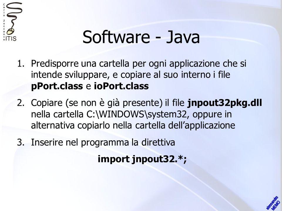 Software - Java 1.Predisporre una cartella per ogni applicazione che si intende sviluppare, e copiare al suo interno i file pPort.class e ioPort.class