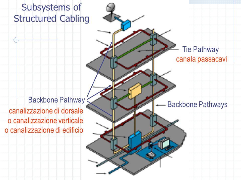 Tie Pathway Backbone Pathway Backbone Pathways Subsystems of Structured Cabling canalizzazione di dorsale o canalizzazione verticale o canalizzazione