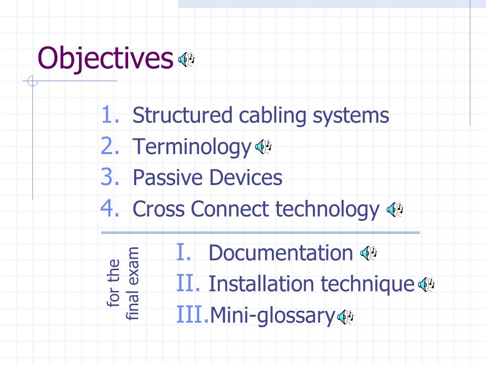 Objectives 1. Structured cabling systems 2. Terminology 3. Passive Devices 4. Cross Connect technology I. Documentation II. Installation technique III