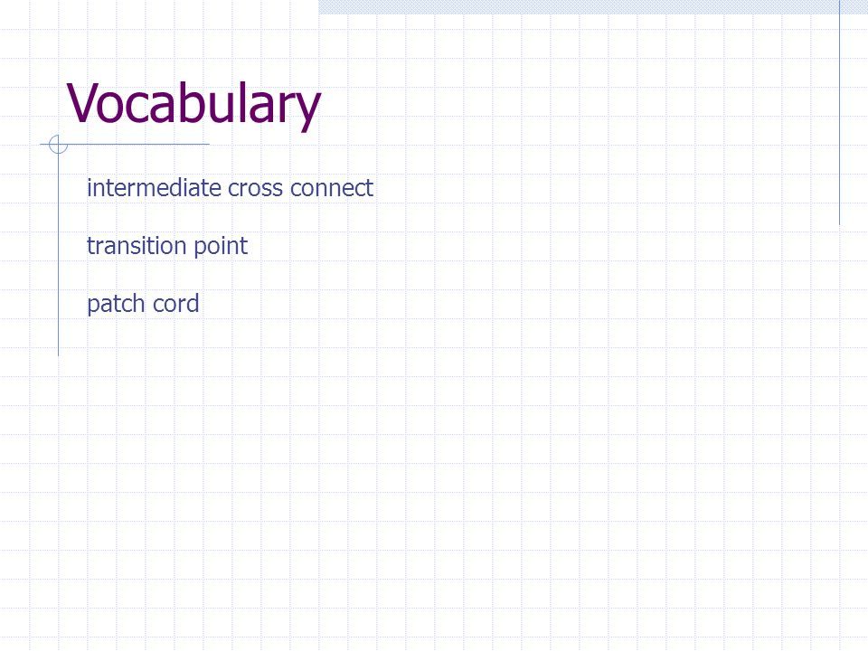 Vocabulary intermediate cross connect transition point patch cord