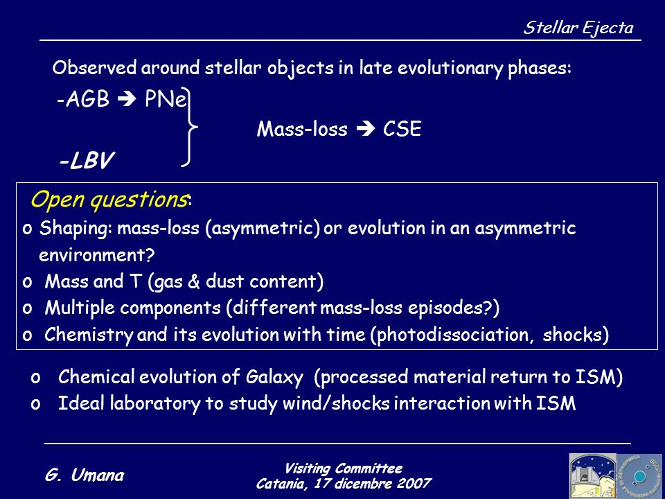 Visiting Committee Catania, 17 dicembre 2007 G. Umana Stellar Ejecta Observed around stellar objects in late evolutionary phases: - AGB PNe Mass-loss