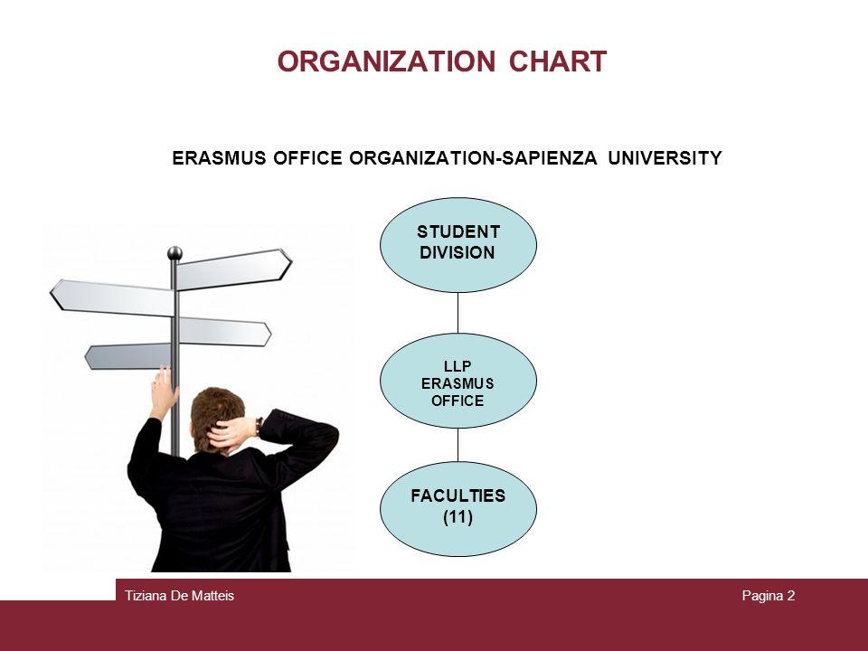 Tiziana De MatteisPagina 2 ORGANIZATION CHART ERASMUS OFFICE ORGANIZATION-SAPIENZA UNIVERSITY STUDENT DIVISION LLP ERASMUS OFFICE FACULTIES (11)