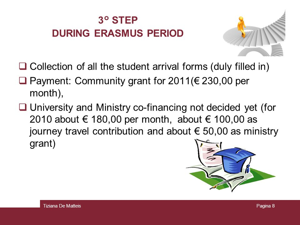 Tiziana De MatteisPagina 8 3° STEP DURING ERASMUS PERIOD Collection of all the student arrival forms (duly filled in) Payment: Community grant for 2011( 230,00 per month), University and Ministry co-financing not decided yet (for 2010 about 180,00 per month, about 100,00 as journey travel contribution and about 50,00 as ministry grant)