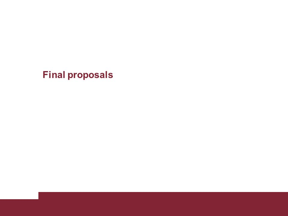 Final proposals