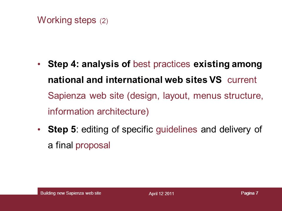 April 12 2011 Building new Sapienza web sitePagina 7 Working steps (2) Step 4: analysis of best practices existing among national and international we