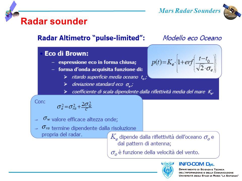 Mars Radar Sounders Radar sounder