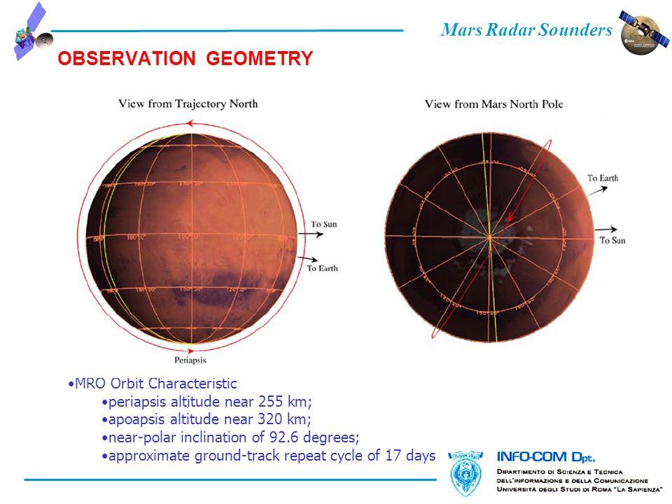 Mars Radar Sounders OBSERVATION GEOMETRY MRO Orbit Characteristic periapsis altitude near 255 km; apoapsis altitude near 320 km; near-polar inclinatio