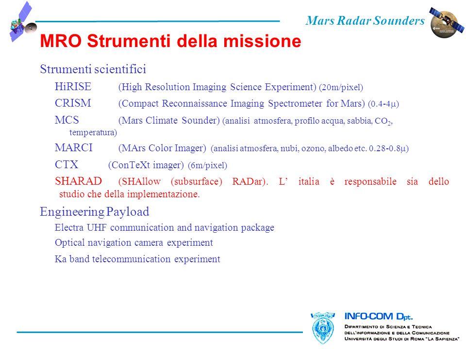 Mars Radar Sounders MRO Strumenti della missione Strumenti scientifici HiRISE (High Resolution Imaging Science Experiment) (20m/pixel) CRISM (Compact Reconnaissance Imaging Spectrometer for Mars) (0.4-4 ) MCS (Mars Climate Sounder) (analisi atmosfera, profilo acqua, sabbia, CO 2, temperatura) MARCI (MArs Color Imager) (analisi atmosfera, nubi, ozono, albedo etc.